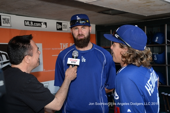 Scott Van Slyke is interviewed prior to game against the San Francisco Giants Saturday, June 11, 2016 at AT&T Park in San Francisco, California. Photo by Jon SooHoo/© Los Angeles Dodgers,LLC 2016