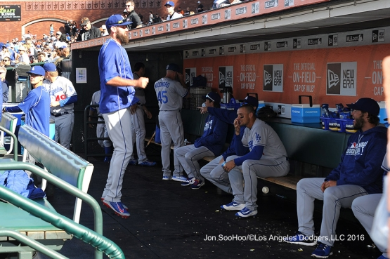 Scott Van Slyke gets up prior to game against the San Francisco Giants Sunday, June 12, 2016 at AT&T Park in San Francisco, California. Photo by Jon SooHoo/© Los Angeles Dodgers,LLC 2016