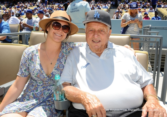 Drew Drysdale and Tommy Lasorda smile as they watch the Dodgers take on the Milwaukee Brewers. Jill Weisleder/Dodgers