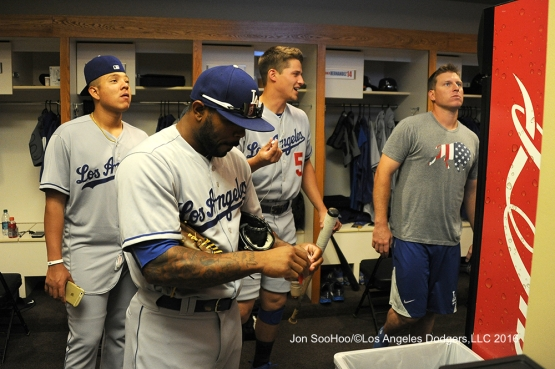 Los Angeles Dodgers in the clubhouse before game against the San Francisco Giants Saturday, June 11, 2016 at AT&T Park in San Francisco, California. Photo by Jon SooHoo/© Los Angeles Dodgers,LLC 2016