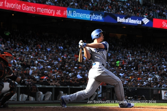 Corey Seager hits in the first inning against the San Francisco Giants Sunday, June 12, 2016 at AT&T Park in San Francisco, California. Photo by Jon SooHoo/© Los Angeles Dodgers,LLC 2016