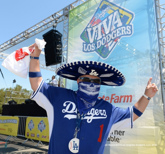 A Dodger fan shows his support for the team during Viva Los Dodgers. Jill Weisleder/Dodgers