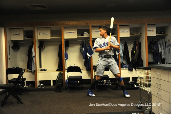 Corey Seager in the clubhouse prior to game against the San Francisco Giants Saturday, June 11, 2016 at AT&T Park in San Francisco, California. Photo by Jon SooHoo/© Los Angeles Dodgers,LLC 2016