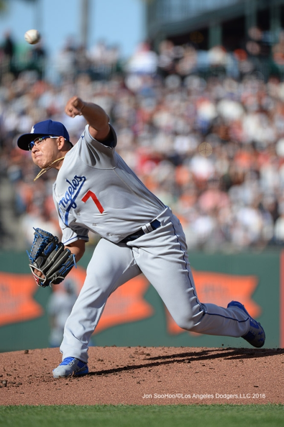 Los Angeles Dodgers Julio Urias pitches against the San Francisco Giants Sunday, June 12, 2016 at AT&T Park in San Francisco, California. Photo by Jon SooHoo/© Los Angeles Dodgers,LLC 2016