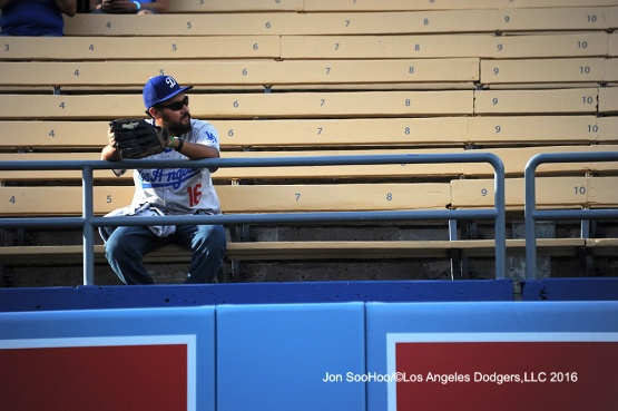 Great Los Angeles Dodger fan sits in the left field pavilion prior to game against the Milwaukee Brewers Satuday, June 18, 2016 at Dodger Stadium. Photo by Jon SooHoo