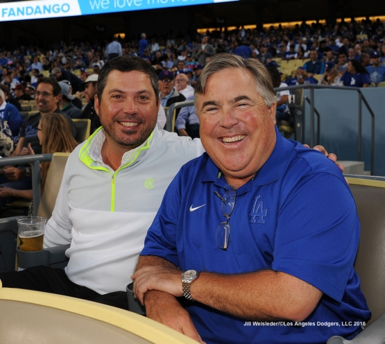 Former Dodger pitcher Josh Beckett and Guggenheim Partner and Dodger owner Bobby Patton pose for a photo during the game. Jill Weisleder/Dodgers