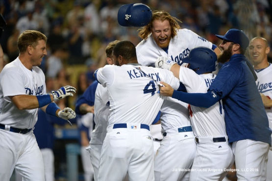 Justin Turner celebrates with the team after the 4-3 win. Jill Weisleder/Dodgers
