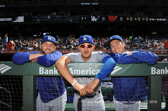 Mike Bolsinger, Julio Urias and Kenta Maeda pose prior to game against the San Francisco Giants Saturday, June 11, 2016 at AT&T Park in San Francisco, California. Photo by Jon SooHoo/© Los Angeles Dodgers,LLC 2016
