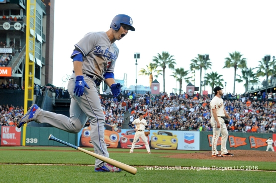 Los Angeles Dodgers Joc Pederson homers  against the San Francisco Giants Sunday, June 12, 2016 at AT&T Park in San Francisco, California. Photo by Jon SooHoo/© Los Angeles Dodgers,LLC 2016