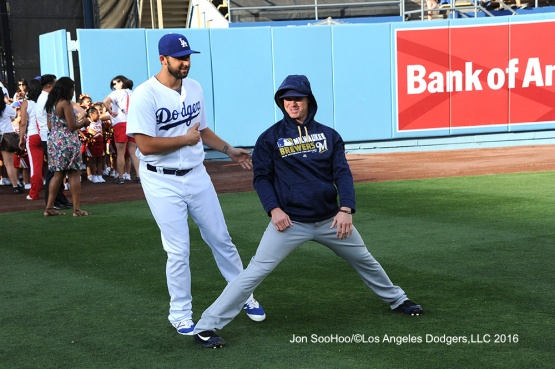 Starting pitchers Mike Bolsinger and Chase Anderson in the outfield prior to game Satuday, June 18, 2016 at Dodger Stadium. Photo by Jon SooHoo