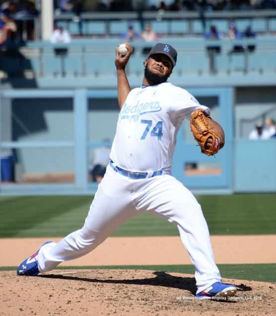 Pitcher Kenley Jansen throws on the mound in the 9th inning. Jill Weisleder/Dodgers