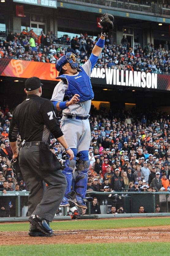A.J. Ellis goes up for ball against the San Francisco Giants Sunday, June 12, 2016 at AT&T Park in San Francisco, California. Photo by Jon SooHoo/© Los Angeles Dodgers,LLC 2016