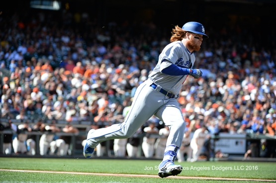 Justin Turner against the San Francisco Giants Saturday, June 11, 2016 at AT&T Park in San Francisco, California. Photo by Jon SooHoo/© Los Angeles Dodgers,LLC 2016