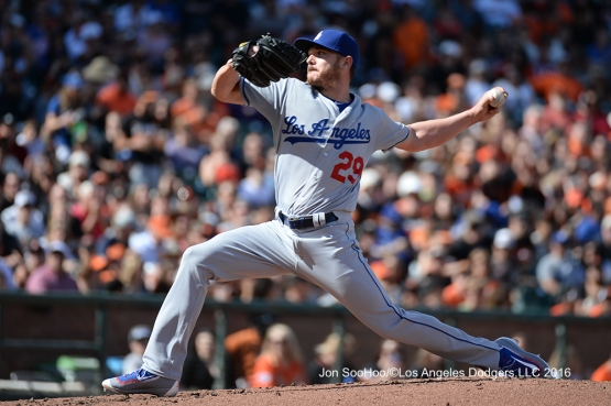 Los Angeles Dodgers Scott Kazmir against the San Francisco Giants Saturday, June 11, 2016 at AT&T Park in San Francisco, California. Photo by Jon SooHoo/© Los Angeles Dodgers,LLC 2016