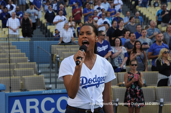 Kearran Giovanni sings the anthem before Los Angeles Dodgers game against the Milwaukee Brewers Satuday, June 18, 2016 at Dodger Stadium. Photo by Jon SooHoo