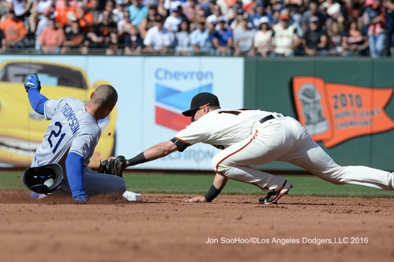 Los Angeles Dodgers Trayce Thompson doubles against the San Francisco Giants Saturday, June 11, 2016 at AT&T Park in San Francisco, California. Photo by Jon SooHoo/© Los Angeles Dodgers,LLC 2016