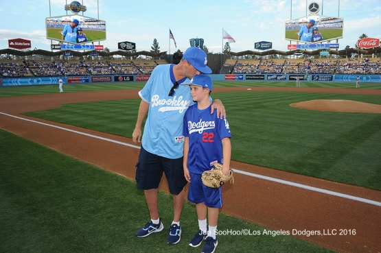 Rob and son Andrew Finnegan prior to Los Angeles Dodgers game against the Milwaukee Brewers Satuday, June 18, 2016 at Dodger Stadium. Photo by Jon SooHoo