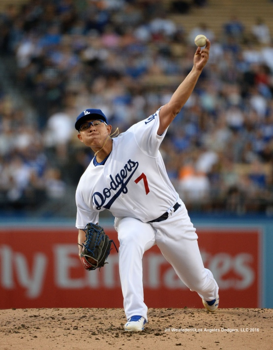 Starting pitcher Julio Urias throws on the mound against the Washington Nationals. Jill Weisleder/Dodgers