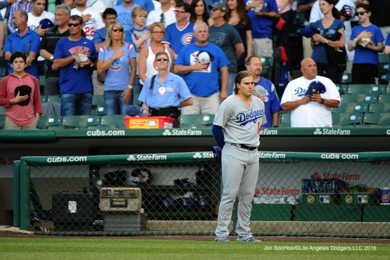 Los Angeles Dodgers Kike Hernandez stands for the anthem prior to games  vs the Chicago Cubs Wednesday, June 1,2016 at Wrigley Field in Chicago,Illinois. Photo by Jon SooHoo/©Los Angeles Dodgers,LLC 2016