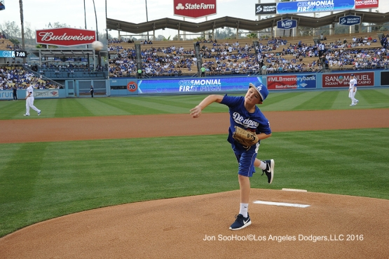 Andrew Finnegan throws out the first pitch before Los Angeles Dodgers game against the Milwaukee Brewers Satuday, June 18, 2016 at Dodger Stadium. Photo by Jon SooHoo