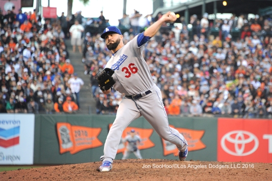 Los Angeles Dodgers Adam Liberatore pitches against the San Francisco Giants Sunday, June 12, 2016 at AT&T Park in San Francisco, California. Photo by Jon SooHoo/© Los Angeles Dodgers,LLC 2016