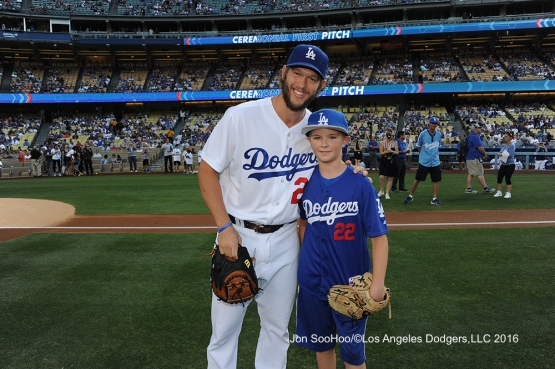 Andrew Finnegan throws out the first pitch to Clayton Kershaw before Los Angeles Dodgers game against the Milwaukee Brewers Satuday, June 18, 2016 at Dodger Stadium. Photo by Jon SooHoo