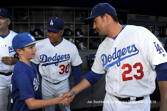 Andrew Finnegan shakes hands with Adrian Gonzalez before Los Angeles Dodgers game against the Milwaukee Brewers Satuday, June 18, 2016 at Dodger Stadium. Photo by Jon SooHoo