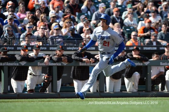 Los Angeles Dodgers Yasmani Grandal singles home Trayce Thompson against the San Francisco Giants Saturday, June 11, 2016 at AT&T Park in San Francisco, California. Photo by Jon SooHoo/© Los Angeles Dodgers,LLC 2016