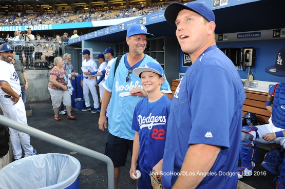 Andrew Finnegan and A.J. Ellis before Los Angeles Dodgers game against the Milwaukee Brewers Satuday, June 18, 2016 at Dodger Stadium. Photo by Jon SooHoo