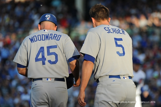 Los Angeles Dodgers  Chris Woodward and Corey Seager during game vs the Chicago Cubs Wednesday, June 1,2016 at Wrigley Field in Chicago,Illinois. Photo by Jon SooHoo/©Los Angeles Dodgers,LLC 2016