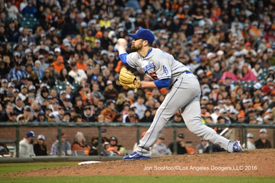 Los Angeles Dodgers Louis Coleman pitches against the San Francisco Giants Sunday, June 12, 2016 at AT&T Park in San Francisco, California. Photo by Jon SooHoo/© Los Angeles Dodgers,LLC 2016