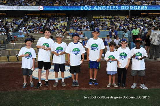Los Angeles Dodgers  Kids Take the Field before game against the Milwaukee Brewers Satuday, June 18, 2016 at Dodger Stadium. Photo by Jon SooHoo