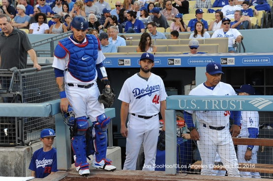 Los Angeles Dodgers Mike Bolsinger before game against the Milwaukee Brewers Satuday, June 18, 2016 at Dodger Stadium. Photo by Jon SooHoo