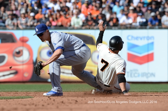 Los Angeles Dodgers Corey Seager gets the force at second against the San Francisco Giants Saturday, June 11, 2016 at AT&T Park in San Francisco, California. Photo by Jon SooHoo/© Los Angeles Dodgers,LLC 2016