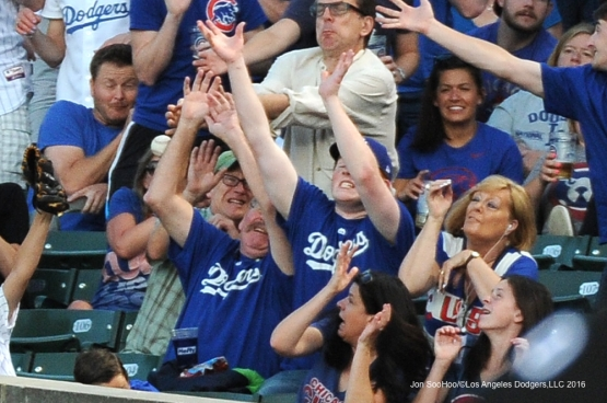 Foul Ball follies during Los Angeles Dodgers vs the Chicago Cubs Wednesday, June 1,2016 at Wrigley Field in Chicago,Illinois. Photo by Jon SooHoo/©Los Angeles Dodgers,LLC 2016