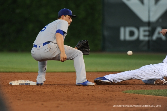 Los Angeles Dodgers Corey Seager with the catch and tag vs the Chicago Cubs Wednesday, June 1,2016 at Wrigley Field in Chicago,Illinois. Photo by Jon SooHoo/©Los Angeles Dodgers,LLC 2016