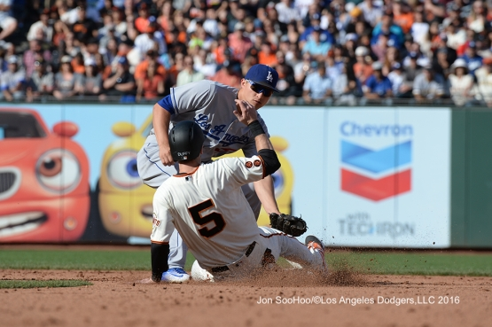 Los Angeles Dodgers Corey Seager gets the out at second against the San Francisco Giants Saturday, June 11, 2016 at AT&T Park in San Francisco, California. Photo by Jon SooHoo/© Los Angeles Dodgers,LLC 2016