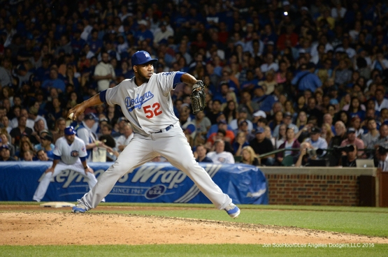 Los Angeles Dodgers Pedro Baez pitches vs the Chicago Cubs Wednesday, June 1,2016 at Wrigley Field in Chicago,Illinois. Photo by Jon SooHoo/©Los Angeles Dodgers,LLC 2016