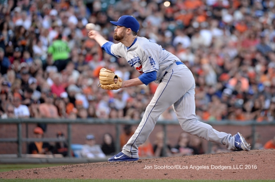 Los Angeles Dodgers Louis Coleman pitches against the San Francisco Giants Saturday, June 11, 2016 at AT&T Park in San Francisco, California. Photo by Jon SooHoo/© Los Angeles Dodgers,LLC 2016