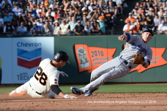 Los Angeles Dodgers Chase Utley throws to first against the San Francisco Giants Saturday, June 11, 2016 at AT&T Park in San Francisco, California. Photo by Jon SooHoo/© Los Angeles Dodgers,LLC 2016