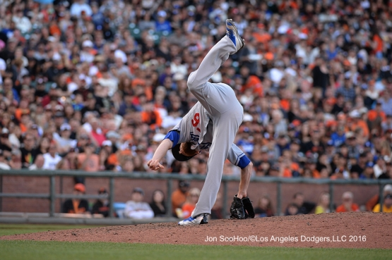Los Angeles Dodgers J.P.Howell pitches against the San Francisco Giants Saturday, June 11, 2016 at AT&T Park in San Francisco, California. Photo by Jon SooHoo/© Los Angeles Dodgers,LLC 2016