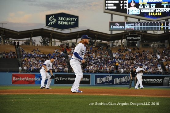Los Angeles Dodgers shift against the Milwaukee Brewers Satuday, June 18, 2016 at Dodger Stadium. Photo by Jon SooHoo