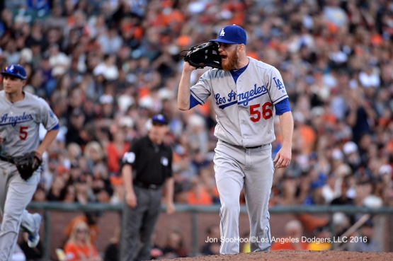 Los Angeles Dodgers J.P. Howell lets go against the San Francisco Giants Saturday, June 11, 2016 at AT&T Park in San Francisco, California. Photo by Jon SooHoo/© Los Angeles Dodgers,LLC 2016