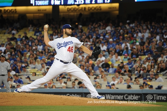 Los Angeles Dodgers Mike Bolsinger pitches against the Milwaukee Brewers Satuday, June 18, 2016 at Dodger Stadium. Photo by Jon SooHoo