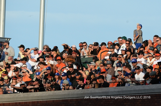 GREAT Los Angeles Dodger fan stands out against the San Francisco Giants Saturday, June 11, 2016 at AT&T Park in San Francisco, California. Photo by Jon SooHoo/© Los Angeles Dodgers,LLC 2016