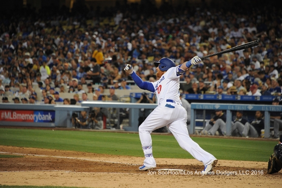 Los Angeles Dodgers Justin Turner homers during game against the Milwaukee Brewers Saturday, June 18, 2016 at Dodger Stadium. Photo by Jon SooHoo