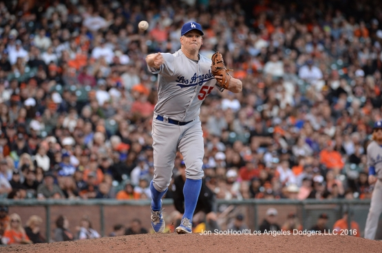 Los Angeles Dodger Joe Blanton makes pick off attempt against the San Francisco Giants Saturday, June 11, 2016 at AT&T Park in San Francisco, California. Photo by Jon SooHoo/© Los Angeles Dodgers,LLC 2016