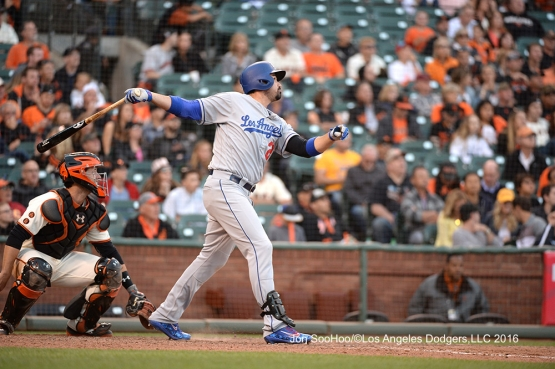 Adrian Gonzalez homers in the 10th against the San Francisco Giants Saturday, June 11, 2016 at AT&T Park in San Francisco, California. Photo by Jon SooHoo/© Los Angeles Dodgers,LLC 2016