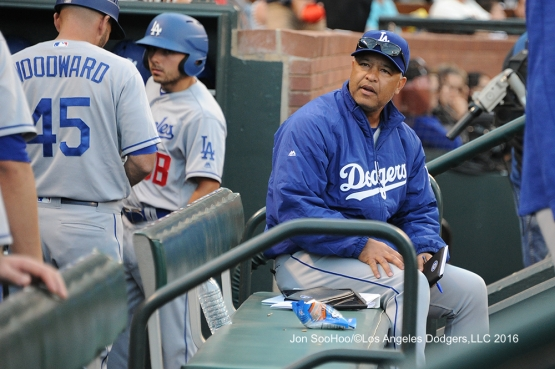 Los Angeles Dodgers Dave Roberts looks on against the San Francisco Giants Saturday, June 11, 2016 at AT&T Park in San Francisco, California. Photo by Jon SooHoo/© Los Angeles Dodgers,LLC 2016