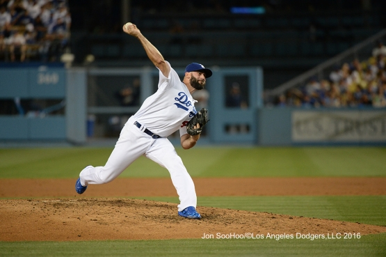 Los Angeles Dodgers Chris Hatcher during game against the Milwaukee Brewers Satuday, June 18, 2016 at Dodger Stadium. Photo by Jon SooHoo